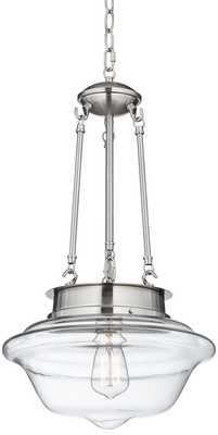 "Possini Euro Design Corlena 13"" Wide Brushed Steel Pendant - Lamps Plus"