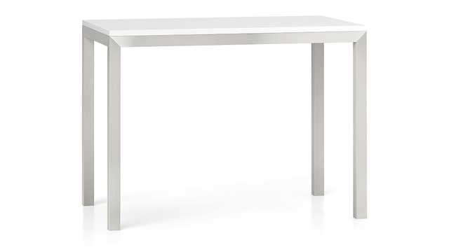 White Top/ Stainless Steel Base 48x28 Parsons High Dining Table - Crate and Barrel