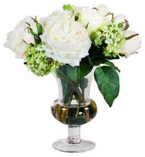 """11"""" Roses in Glass, Faux - One Kings Lane"""