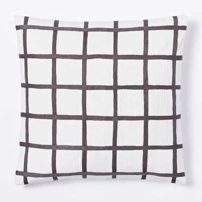 Crewel Windowpane Pillow Cover - West Elm