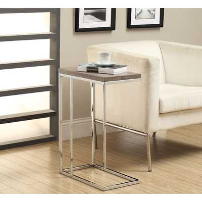 Dark Taupe Reclaimed-Look Chrome Metal Accent Table - Overstock