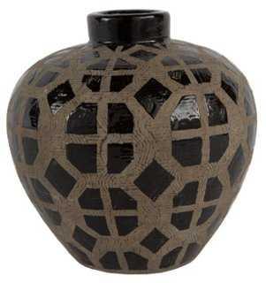"""6"""" Graphic Vase, Black - One Kings Lane"""