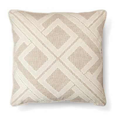 "Tan Geo Patchwork Toss Pillow - 20"" x 20"" - Polyester Fill - Target"