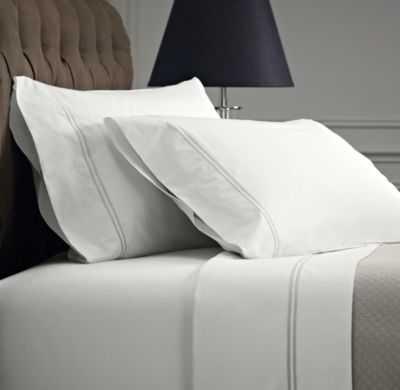 ITALIAN HOTEL SATIN STITCH WHITE SHEET SET-King - RH