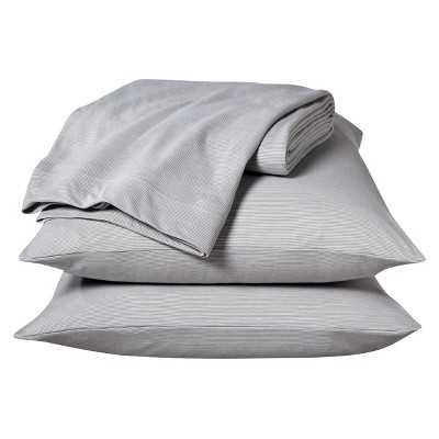 Jersey Sheet Set Prints - gray stripe - king - Target