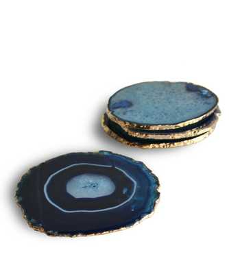 SALE -- Gold Plated Agate Coasters, Azure Blue (set of 4) - High Street Market