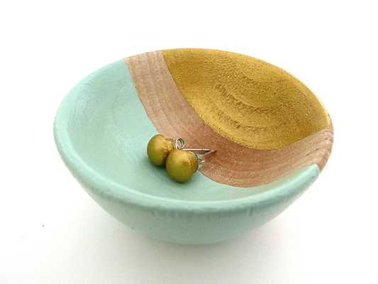 Mint green and gold bowl - Etsy