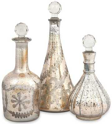 AUDREY ETCHED DECANTERS - SET OF 3 - Home Decorators