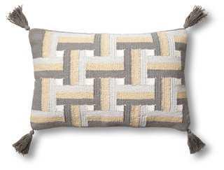 Lattice 14x22 Cotton Pillow, feather/down insert - One Kings Lane