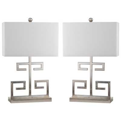 Safavieh Indoor 1-light Greek Key Table Lamp (Set of 2) - Overstock