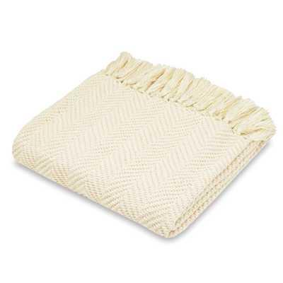 Luna Chenille Fashion Throw Blanket - Ivory - Wayfair