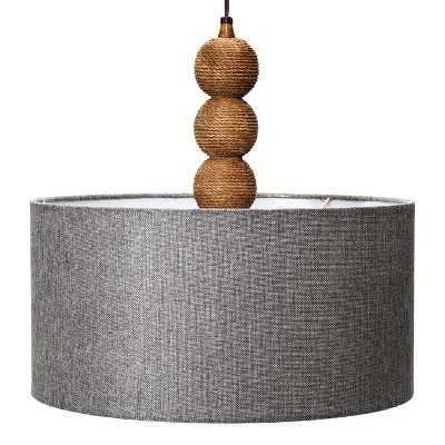 """Mudhutâ""""¢ Rope Textured Plug-in Pendant Lamp with Gray Linen Shade - Target"""