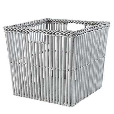 Grey Rattan Reed Cube Basket - Land of Nod