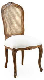 Lilla Wicker Side Chair, Linen Seat - One Kings Lane