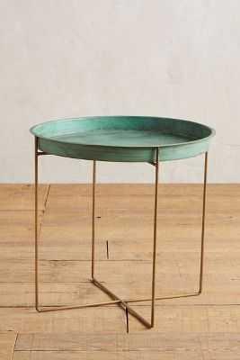 Kapona Tray Table-Green Motif - Anthropologie