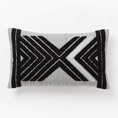 """Mirrored Chevron Pillow Cover - Black/Silver - 12""""w x 21""""l- Insert Sold Separately - West Elm"""