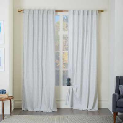 """Cotton Canvas Chambray Print Curtain - Platinum, 108"""" - West Elm"""