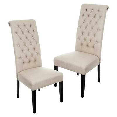 Tall Tufted Dining Chairs (Set of 2) - Beige - Target