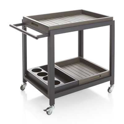 Alfresco Grey Bar Cart with Casters - Crate and Barrel