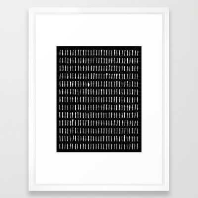 White on Black Woodstock Pattern - Framed - Society6