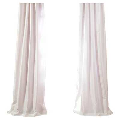 "Faux Solid Taffeta Single Curtain Panel - White, 84""L - AllModern"