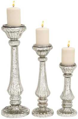JASMINE MERCURY GLASS CANDLE HOLDERS - SET OF 3 - Home Decorators