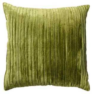 Venetian 22x22 Velvet Pillow, Green - Feather/down insert - One Kings Lane