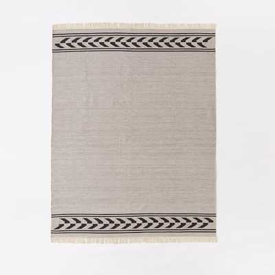 Steven Alan Arrow Border Cotton Kilim Rug - Feather Gray - West Elm