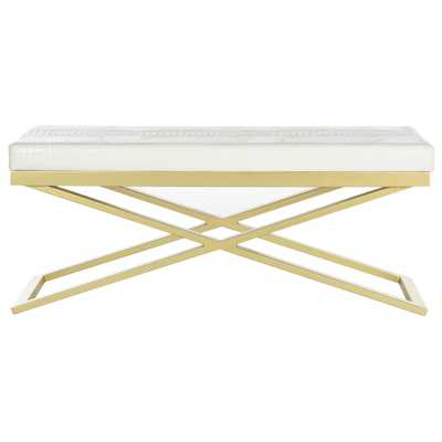Acra Upholstered Entryway Benchby Safavieh - White Crocodile/Gold - Wayfair