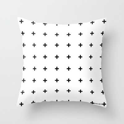Black Plus on White Pillow - 16x16, With Insert - Society6