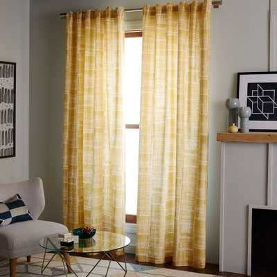 "Mid-Century Cotton Canvas Etched Grid Curtain - 108""L - West Elm"