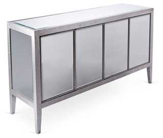 Lee Mirrored Buffet, Silver/Chestnut - One Kings Lane