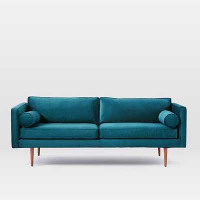 """Mid-Century Sofa - 80"""" - Luster Velvet, Celestial Blue - West Elm"""