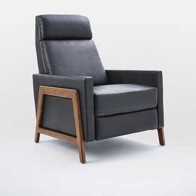 Spencer Wood Framed Leather Recliner - Nero - West Elm