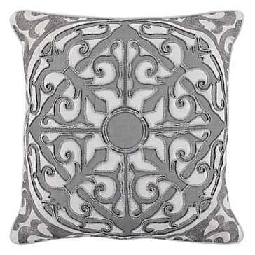 "Imperiale Pillow 20""-White / Silver-  Feather/down insert - Z Gallerie"