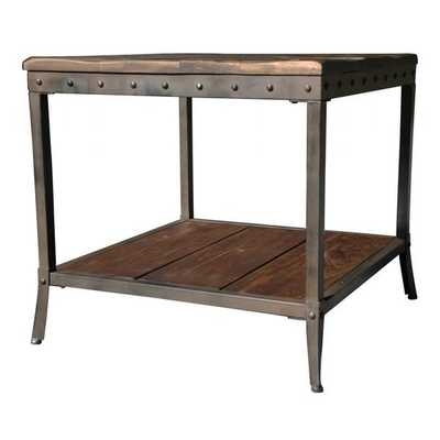Trenton Distressed Pine/ Metal End Table - Overstock