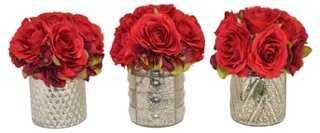 "S/3 8"" Red Rose Arrangements, Faux - One Kings Lane"