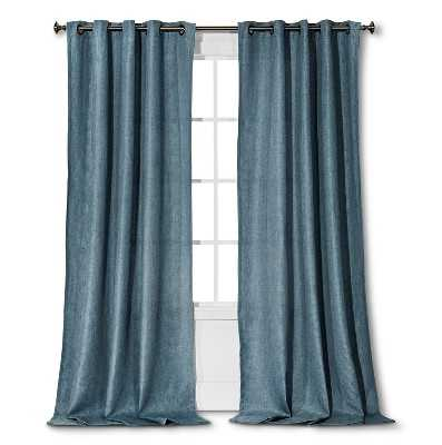 "Thresholdâ""¢ Basketweave Curtain Panel - Washed blue - 54"" x 95"" - Target"