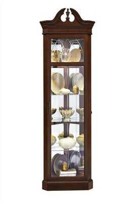 Wood Glass Metal Corner Curio w/Dark Wood Color - theclassyhome.com