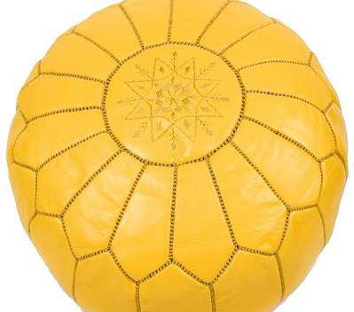 Moroccan Designer Yellow luxury Leather Poufs Hand Stitched and Embroidered - Etsy