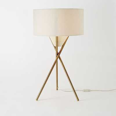 Mid-Century Tripod Table Lamp - Antique Brass - West Elm