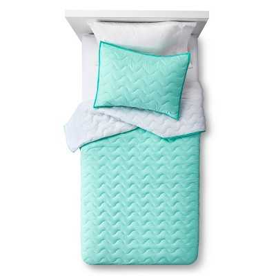 """Wave Stitch Quilt and Sham Set - Pillowfortâ""""¢-Crystalized Green - Target"""