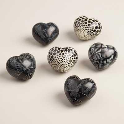 Black and White Soapstone Hearts, Set of 6 - World Market/Cost Plus