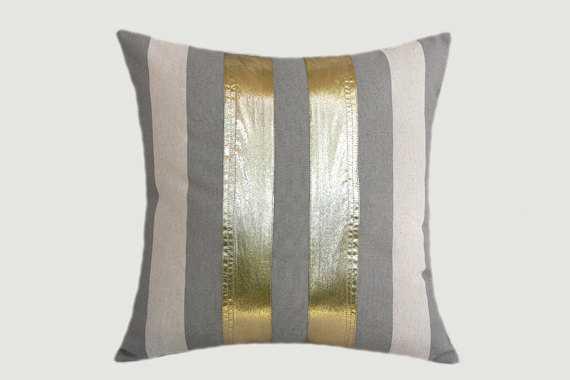 Decorative Pillow Case, Cotton Grey-light Beige Throw - Etsy