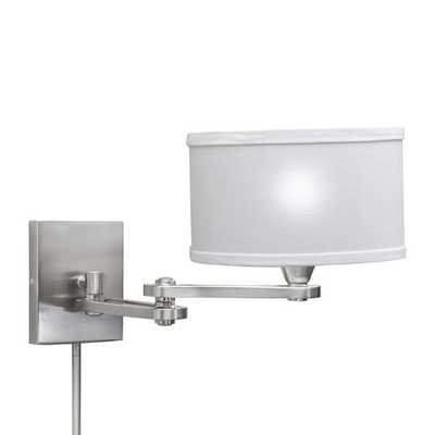 Transitional 1-light Chrome Swing Arm Pin-up Plug-in Wall Lamp - Overstock