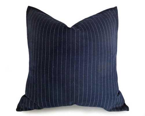 "Mens Dark Blue Pinstriped Pillow - 18"" x 18"" - Insert Sold Separately - Etsy"