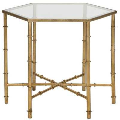 Safavieh Treasures Kerri Gold/ Glass Top Accent Table - Overstock