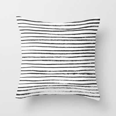 "Black Brush Lines on White throw pillow - 18"" x 18"" - Down Insert - Society6"