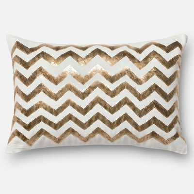 "Sequin Gold/ White Chevron Down Feather Filled 13"" x 21"" Throw Pillow - Overstock"