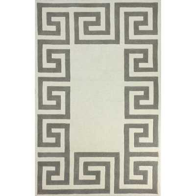 nuLOOM Hand-tufted Greek Key Border Ivory Wool Rug (7'6 x 9'6) - Overstock